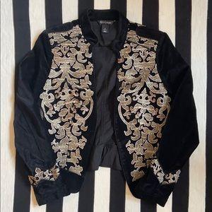 White House Black Market Gold-leaf Velvet Jacket
